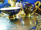 COALPORT  MILK JUG AND SUGAR BOWL COBALT BLUE EXOTIC GOLD BIRD AND INSECTS