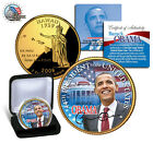 Barack Obama *44th President*24 KT GOLD LAYERED- COLORIZED HAWAII  State Quarter