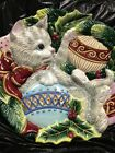 FITZ & FLOYD Cat Kitten Kristmas Kitty Holiday Christmas Cookie plate. Canapé