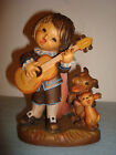 VINTAGE ANRI Italy Hand Carved Wood Signed Ferrandiz ROMEO GIRL PLAY GUITAR
