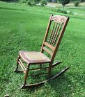 Antique Mothers rocking chair, caned seat - handcarved and spindle back