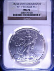 BURNISHED 2011 W MS 70 NGC GOLD LABEL 25TH ANNIVERSARY AMERICAN SILVER EAGLE