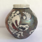 RAKU Studio ART Pottery VASE/POT Jeremy Diller DANCING KOKOPELLI FIGURES Signed