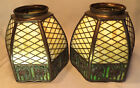 Matched Pair of Handel Overlay, Rose Trellis Stained/Slag Glass Lamp Shades