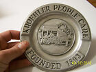 Vintage 1973 small pewter plate Kroehler People Care founded 1893