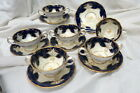 very RARE (6) H 4405 minton cobalt blue cream soup bowls & saucers / all perfect