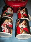 Set Of 4 Sakura Coca-Cola Santa Christmas Mugs Cups Round Box Holiday Portraits