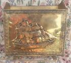 Old Vintage Brass Wood Clipper Ship Sail Boat Nautical Magazine Holder English