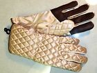 Ladies Quilted Ski Leather finger Grip Gloves, Medium , Gold