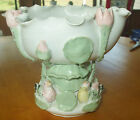 Handmade Porcelain Centerpiece Bowl Birds Flowers pink green white unknown