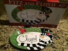 Fitz and Floyd Cheers Holiday Frosty's Frolic Snowman Sentiment Serving Tray NIB