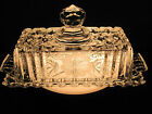 AMERICAN BRILLIANT CUT & ETCHED CRYSTAL BUTTER STICK DISH