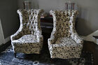 Pair Mid Century Modern Hollywood Regency High Roll Back Tufted Chairs