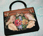 VINTAGE Hand Decorated Caron Of Houston TX Handbag Purse Floral Beads