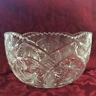 Vintage Heavy Cut Crystal Glass Bowl Saw Tooth Edge w/ Star Floral Base Pattern