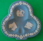 VINTAGE WEDGWOOD BLUE JASPERWARE TRINKET PIN DISH ASHTRAY LUCKY CLOVER