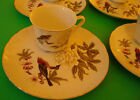 Vintage Shafford China Snack Plate Cup Set Bird Flowers Gold Trim Japan
