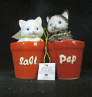 Black White Cat Kitten Flower Pot Magnetic Salt Pepper Shaker Set Westland Gift