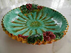 French Majolica Pie Plate in Palissy Ware Style Trompe L'Oeil Cherries Deep Dish