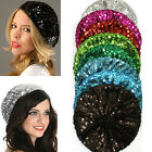 Women Bling Stretch Metallic Shining Sequin french beret Hat Beanie Cap Clubwear