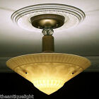 (((DRAMATIC))) 1940s Vintage Custard Glass CEILING LIGHT Lamp fixture shade