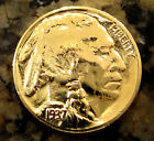 GOLD BUFFALO Head Nickel Old Antique WW 2 World War 2 Era Rare *24 K GOLD PLATED