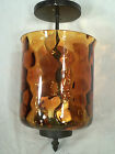 MID CENTURY MODERN MOTTLED AMBER GLASS CEILING LIGHT