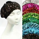 NEW Stretch Shimmer Metallic Shining Sequin Beret Hat Skull Beanie Cap Clubwear