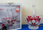 ANNA HUTTE BLEIKRISTALL GERMANY ETCHED LEAD CRYSTAL RUBY FLASH BASKET ROSE DESIG