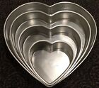 WILTON Heart Shaped Cake Pan Set Wedding Valentines Day Anniversary 4 Tier