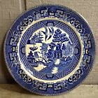 Antique Buffalo Pottery 1911 Flow Blue Plate Asian Willow Pattern 8 1/4