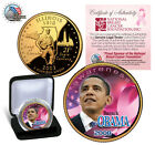 BARACK OBAMA Licensed* Pink Cancer Awareness *GOLD ILLINOIS STATE QUARTER + BOX