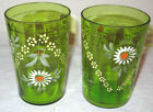 Pair Victorian Green Glasses Tumblers Hand Painted 1900s Flowers Daisy