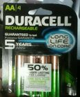 Duracell  Rechargeable AA Batteries. 2400 MaH 4 Pack - Free Shipping!