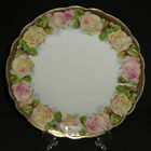 ANTIQUE PORCELAIN CABINET PLATE HAND PAINTED GOLD PINK ROSES GERMANY 1895-1910