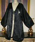 VINTAGE   BLACK EXTREMELY SILKY SATIN  ROBE & NIGHTGOWN  SET SIZE 1X  BUST TO 50