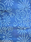 1 1/4 YD Cotton Fabric Batik Quilting Timeless Treasures Blue Abstract Flowers