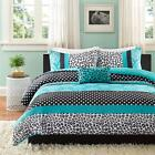 BEAUTIFUL BLUE TEAL BLACK GREY LEOPARD ANIMAL POLKA DOT TEEN GIRL COMFORTER SET
