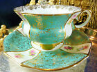 COLLINGWOODS TEA CUP AND SAUCER BABY BLUE & WHITE PANELS HP FLORAL FLUTED TULIP