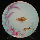 ANTIQUE ENGLISH PORCELAIN PLATE 19th C HAND PAINTED GOLD RELIEF FISH 1883 RARE 2