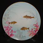ANTIQUE ENGLISH PORCELAIN PLATE 19th C HAND PAINTED GOLD RELIEF FISH 1883 RARE 3