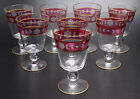 RUBY FLASH ETCHED FLORAL DESIGN WITH GOLD TRIM WATER GLASSES-SET OF 8