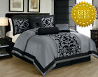 New! KING Comforter 7pc Black Grey Traditional Damask Printed Comforter Set