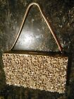 VTG EVANS Rhinestone & Pearl Gold Tone Metal Box Purse Clutch Compact Carry All