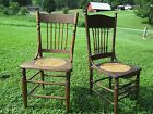 Antique chairs - unmatched pair - Oak, caned seat, spindle backs