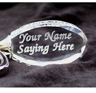 PERSONALIZED Oval Crystal Key Chain and Ring 2 Lines Custom Laser Engraved