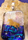 22k Gold Horse in Pink Blue Purple Fused Dichroic Glass Pendant Handmade