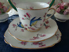 Royal Albert Crown China Trio   ***Blossom*** Pink Blossom, Blue/Yellow Birds