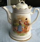 Imperial antique porcelain large coffee pot w Holland Children painted  Europe