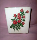 McCOY POTTERY(?) - BEAUTIFUL ROSE DESIGN TRANSFER ON WHITE PILLOW VASE